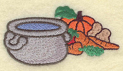 Embroidery Design: Cooking pot with vegetables 3.01w X 1.57h