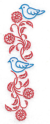 Embroidery Design: Posies and bluebirds A large 1.80w X 4.98h