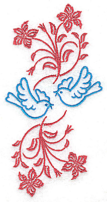 Embroidery Design: Posies and bluebirds B large 2.50w X 4.97h