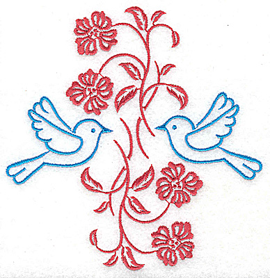 Embroidery Design: Posies and bluebirds C large 4.80w X 4.94h