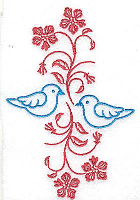 Embroidery Design: Posies and bluebirds D large 3.33w X 4.96h