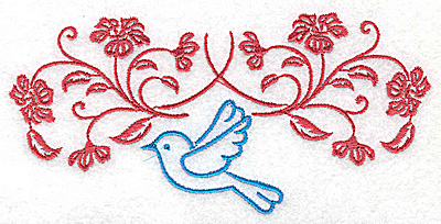 Embroidery Design: Posies and bluebird E large 4.96w X 2.38h