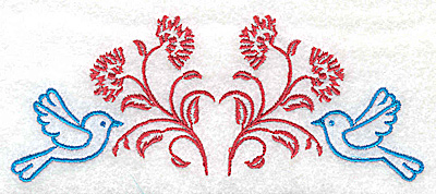 Embroidery Design: Posies and bluebirds F large  4.98w X 1.96h