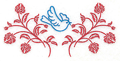 Embroidery Design: Posies and bluebird G large 4.96w X 2.43h