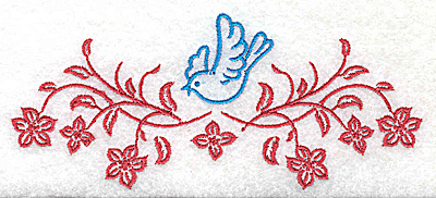 Embroidery Design: Posies and bluebird H large 4.97w X 2.16h