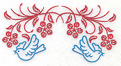 Embroidery Design: Posies and bluebirds I large 4.97w X 2.51h