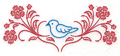 Embroidery Design: Posies and bluebird J large 4.98w X 2.09h