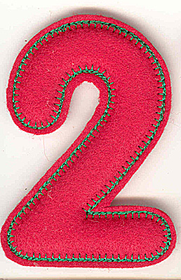 Embroidery Design: Puffy felt number 2 large 3.32w X 4.91h