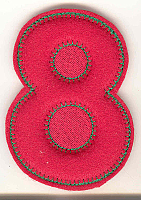 Embroidery Design: Puffy felt number 8 large 3.51w X 4.99h