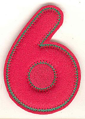 Embroidery Design: Puffy felt number 6 small 2.53w X 3.63h