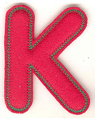 Embroidery Design: Puffy felt alphabet K large 3.90w X 4.93h
