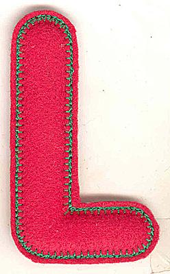 Embroidery Design: Puffy felt alphabet L large 2.80w X 4.91h