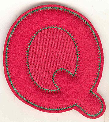 Embroidery Design: Puffy felt alphabet Q large 5.27w X 4.86h