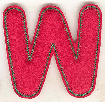 Embroidery Design: Puffy felt alphabet W large 6.18w X 4.93h