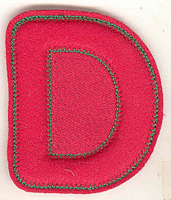 Embroidery Design: Puffy felt alphabet D small 3.03w X 3.52h