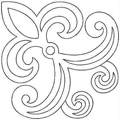 Embroidery Design: Fleur-de-lys swirl small4.81w X 4.81h