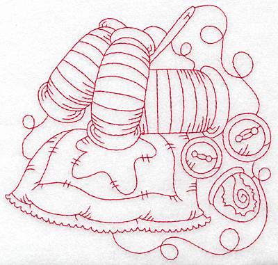 Embroidery Design: Quilt spools and thread redwork large 5.65w X 5.42h