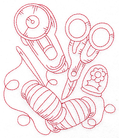 Embroidery Design: Rotary cutter and scissors redwork large 4.84w X 5.69h