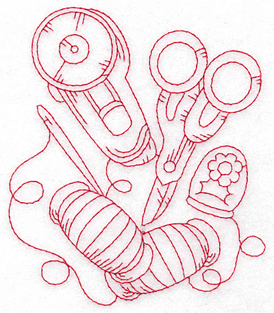 Embroidery Design: Rotary cutter and scissors redwork large4.04w X 4.04w X 4.74h