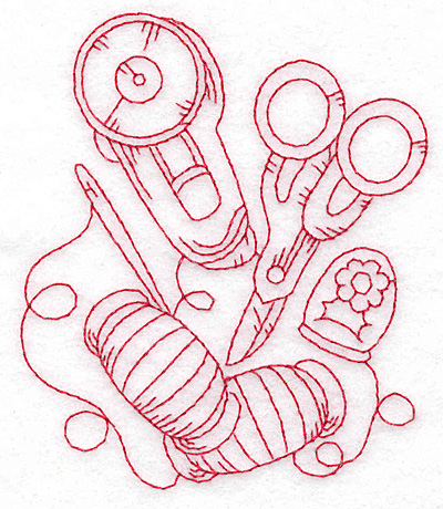 Embroidery Design: Rotary cutter and scissors redwork large 3.22w X 3.79h