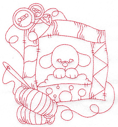 Embroidery Design: Puppy quilt redwork large 5.31w X 5.75h