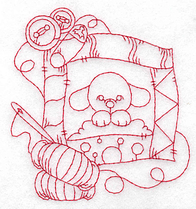 Embroidery Design: Puppy quilt redwork small 3.54w X 3.83h