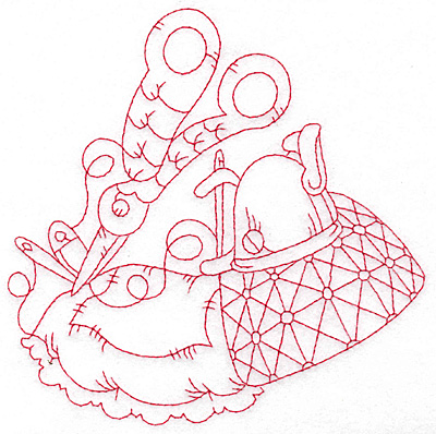 Embroidery Design: Quilted pillow redwork large 5.68w X 5.68h
