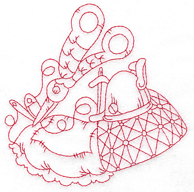 Embroidery Design: Quilted pillow redwork medium 4.73w X 4.73h