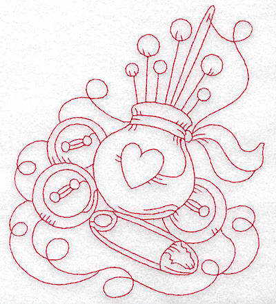 Embroidery Design: Pin cushion with heart redwork large 5.13w X 5.72h