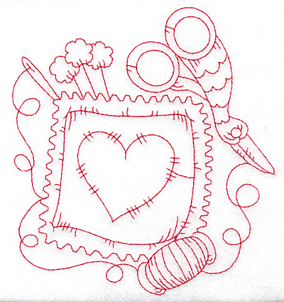 Embroidery Design: Pillow with heart redwork large 5.17w X 5.69h