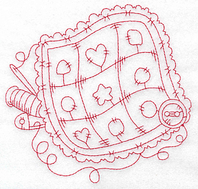 Embroidery Design: Ruffled pillow redwork large 5.72w X 5.53h