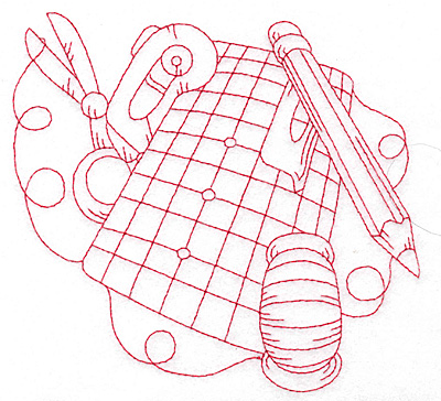 Embroidery Design: Quilters grid board redwork large 5.72w X 5.60h