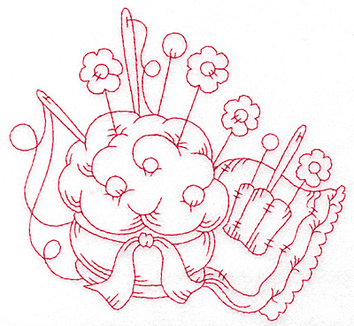 Embroidery Design: Pin cushion floral pins redwork large 5.69w X 5.35h