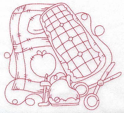 Embroidery Design: Apple quilt redwork large 5.68w X 5.31h