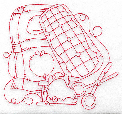 Embroidery Design: Apple quilt redwork medium 4.73w X 4.42h
