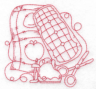 Embroidery Design: Apple quilt redwork small 3.78w X 3.53h