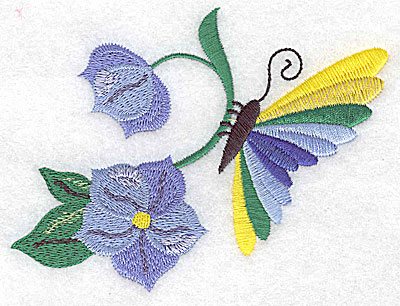 Embroidery Design: Butterfly on flower large 4.85w X 3.67h