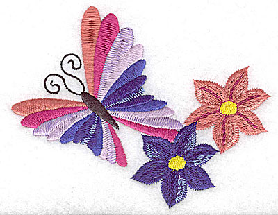 Embroidery Design: Butterfly with two flowers large 4.92w X 3.85h