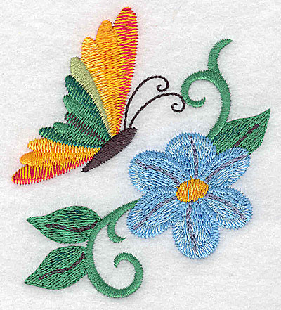 Embroidery Design: Butterfly with flower and vines small 3.43w X 3.85h
