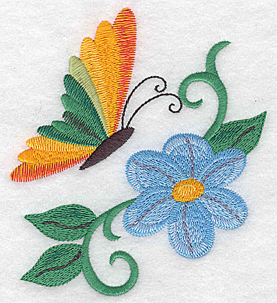 Embroidery Design: Butterfly with flower and vines large 4.39w X 4.92h