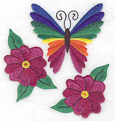 Embroidery Design: Butterfly amid flowers large 4.49w X 4.93h