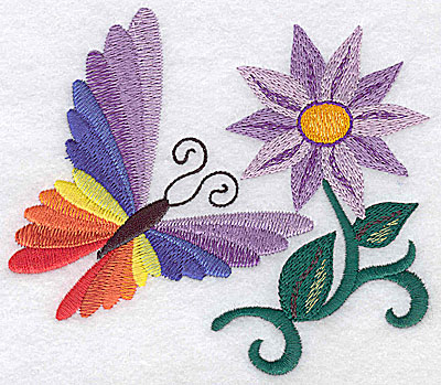 Embroidery Design: Butterfly and flower large 4.90w X 4.22h