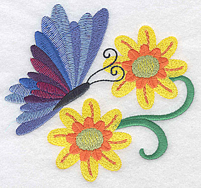 Embroidery Design: Butterfly and flowers large 4.89w X 4.60h