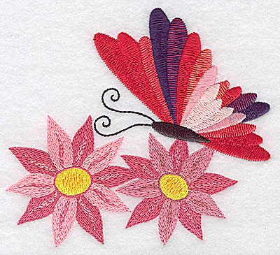 Embroidery Design: Butterfly over two flowers large 4.89w X 4.39h