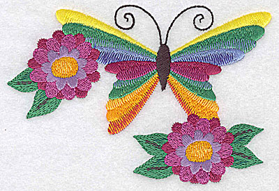 Embroidery Design: Butterfly and flower duo large 4.91w X 3.35h