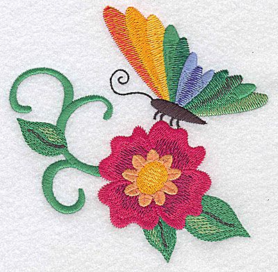 Embroidery Design: Butterfly sitting on flower large 4.91w X 4.82h