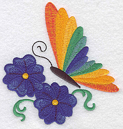 Embroidery Design: Butterfly vines flowers large 4.66w X 4.89h