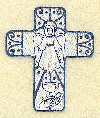 Embroidery Design: Cross with angel 3.27w X 3.87h