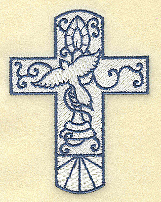 Embroidery Design: Cross with dove 2.91w X 3.87h