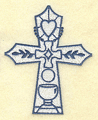 Embroidery Design: Cross with heart and chalice 3.11w X 3.87h